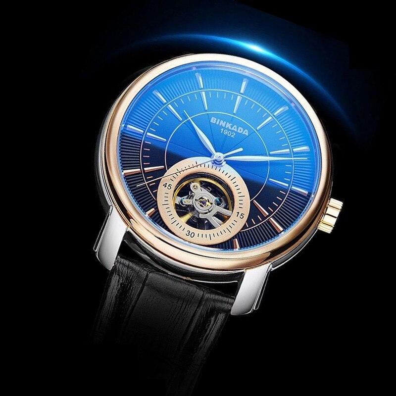 BINKADA-ساعة رجالية ميكانيكية فاخرة ، توربيون ، أوتوماتيكية ، جلد مقاوم للماء ، أزياء رجالية
