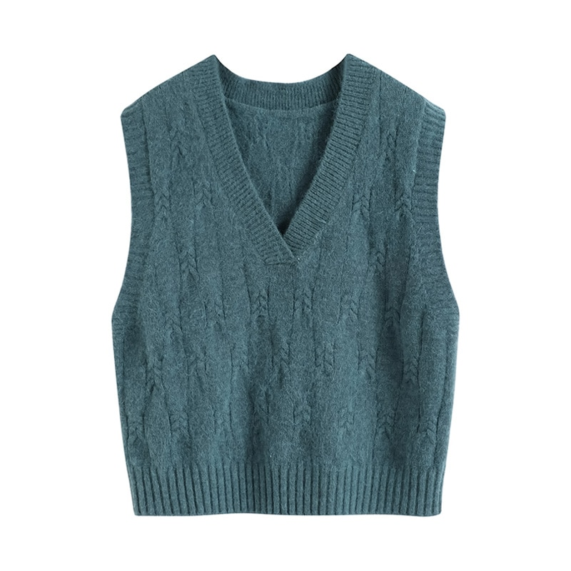 Winter Women Knitted Vest Sweater  Sleeveless V-Neck Cotton Sweater Loose Casual Solid Color Pullovers 【Fans Reduce $1】