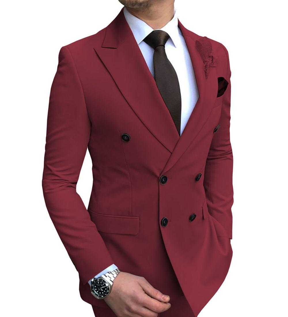 2020 New 1 piece Men's blazer suit jacket Slim Fit Double-Breasted Notch Lapel Blazer Jacket for Weeding Groom(one blazer)) notch collar pleated panel blazer
