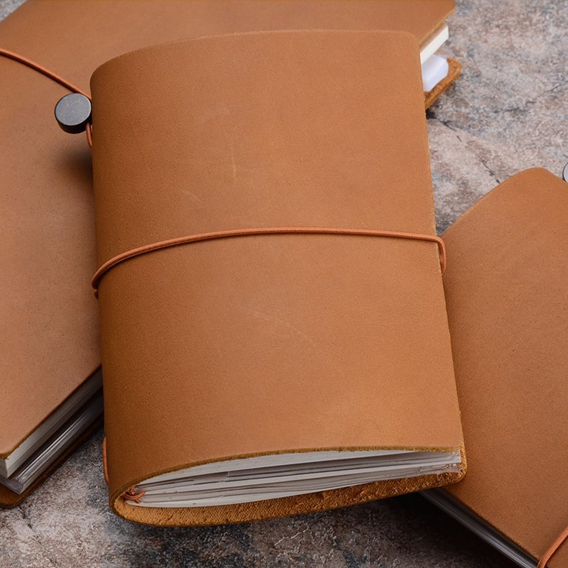 Fromthenon 100% cuaderno de cuero genuino planificador hecho a mano viajero diario pasaporte Agenda cuaderno de bocetos diario papelería