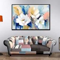 Peinture sur toile avec fleurs aquarelles modernes  affiche dart mural imprimee sur toile pour salon  decoration de maison non etiree