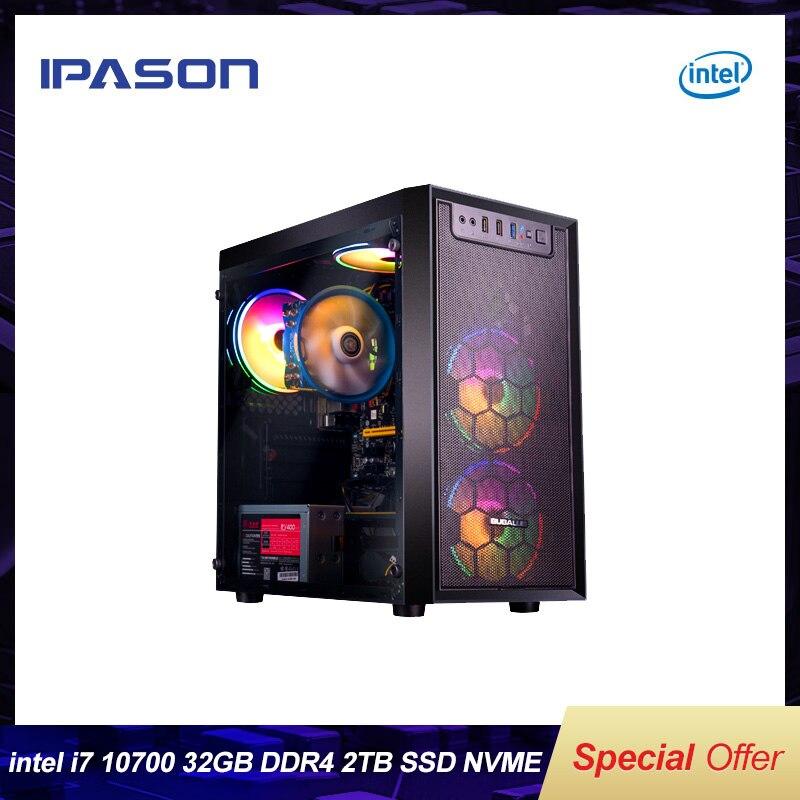 [해외] IPASON 인텔 10 세대 I7 10700 /16G * 2 3200MHz DDR4 RAM/2T M.2 SSD DIY 데스크탑 마이닝 치아 하이 엔드 어셈블리 풀 세트 PC