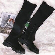 Stretch Lycra Knee High Boots 2020 designer Platform Spring Winter Women Long Boots Casual Ladies Sock Shoes Footwear