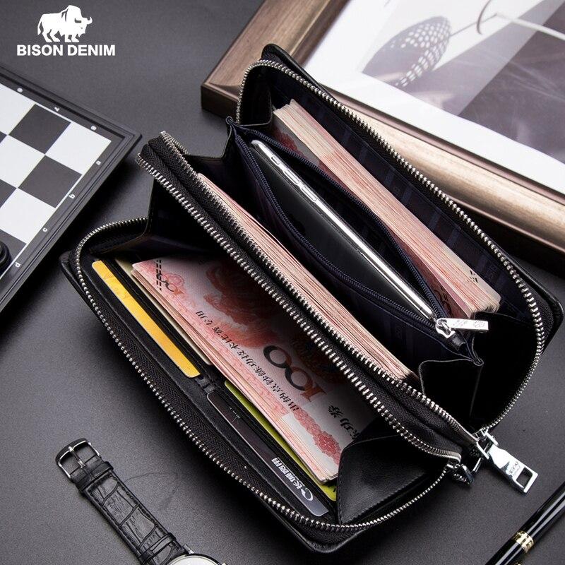 بيسون الدنيم الرجال المحفظة مع عملة جيب محفظة طويلة مزدوجة سستة الأعمال حقيبة يد جلدية أصلية كاوبسكين محفظة الرجال N8008-2