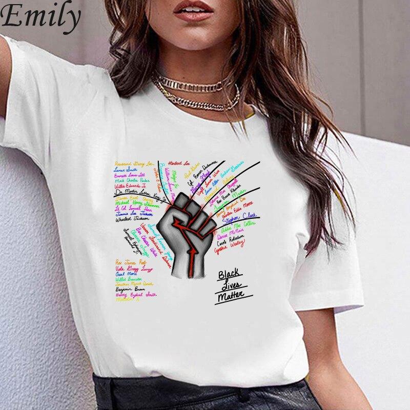 Camisetas holgadas de manga corta y cuello redondo con estampado de BLACK LIVES MATTER para mujer, camisetas de verano para mujer, camisetas para mujer, ropa no puedo respirar