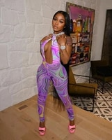 tie dye print halter backless sexy jumpsuit sexy bodycon sleeeveless wrap v neck party club outfits skinny elegant rompers