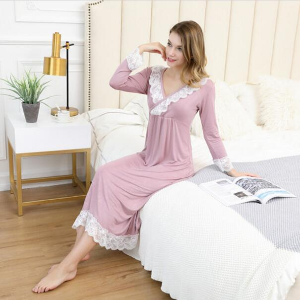 Sleepwear Sexy Nighties For Women Cotton Princess Sleeping Dress Nightgown Homewear Night Wear Long Sleeve Nightgown Plus Size