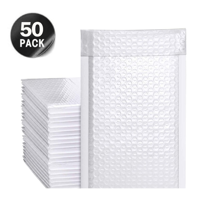 50Pcs White Pearlescent Film Poly  Mailer Bubble Waterproof Shockproof Padded Envelopes for Gift Packaging Lined  Self Seal Bag