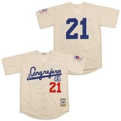 Reminiscência jérsei santurce crabbers 21clemente jerseys de beisebol cor bege costura alta qualidade por atacado transporte rápido