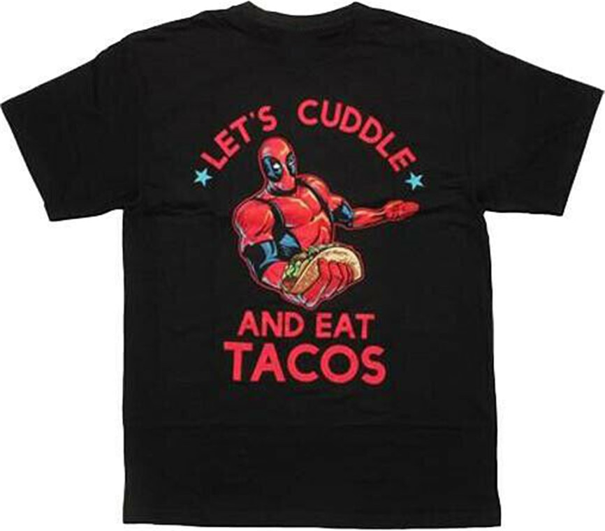Marvel Deadpool Lets Cuddle And Eat Tacos Black men camiseta nueva clásica camiseta única