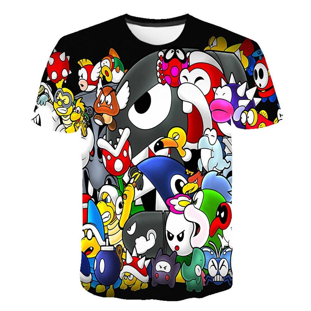Классическая 3D футболка с мультипликационным принтом Марио Новинка стиль Harajuku Классическая игра Марио Брос детская одежда Марио Одежда дл...