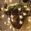 Ledスノーフレークストリングライト結婚式新年クリスマスツリーホリデーデコレーションライト点滅ライト文字列