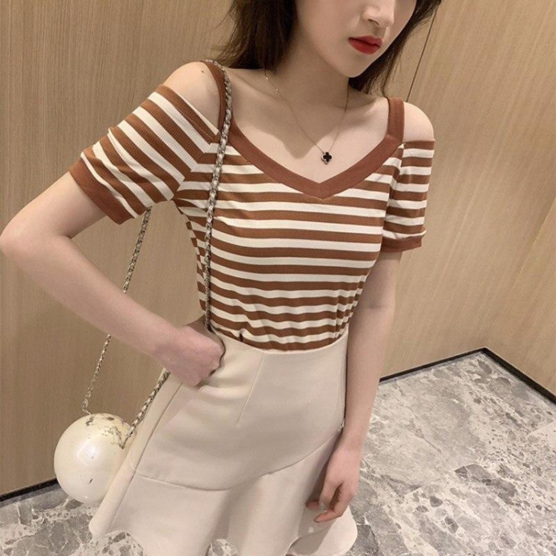 HELIAR Women Spaghetti T-shirt 2020 Summer Strips V-Collar Knitting T-shirt Strips Cotton Ladies Solid T-shirt Short Sleeve Tees