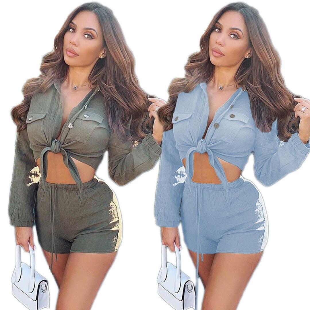 Verano de 2020 las mujeres de dos piezas conjunto chándales de manga completa camisas Tops + Pantalones cortos trajes de calle 2 uds Sexy de noche conjuntos para gimnasio