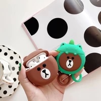 3d cute bear silicone earphone case for airpods 2 cartoon wireless bluetooth earphone charging box case for airpods 12