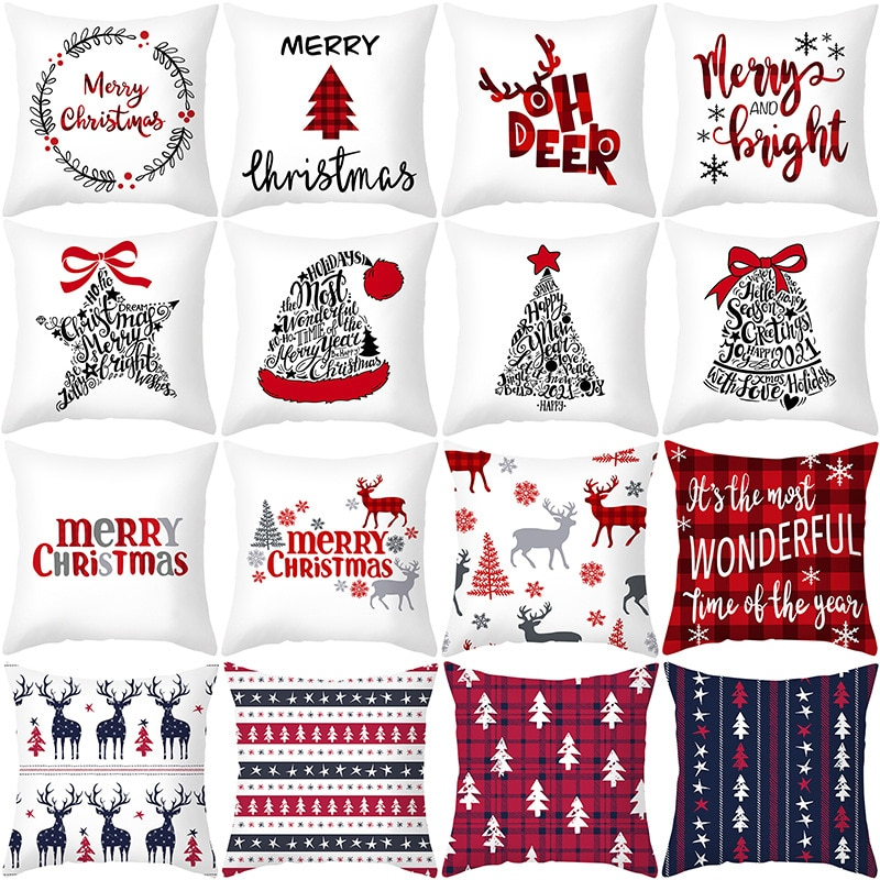 45x45cm Cartoon Santa Claus Elk Christmas Pillowcase 2020 Christmas Decor for Home Merry Christmas Ornament Navidad Xmas Gifts