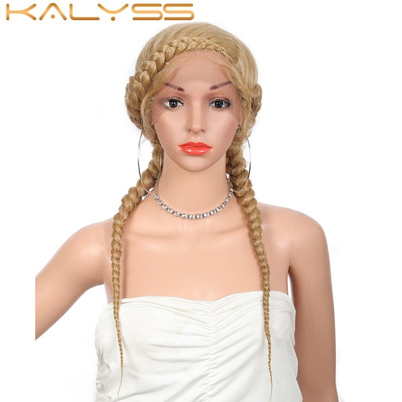 Kalyss 24 Inches French Braided Wigs Soft Lace Front Synthetic Wig Natural Dutch Twins Blonde Braids Hair with Baby Hair