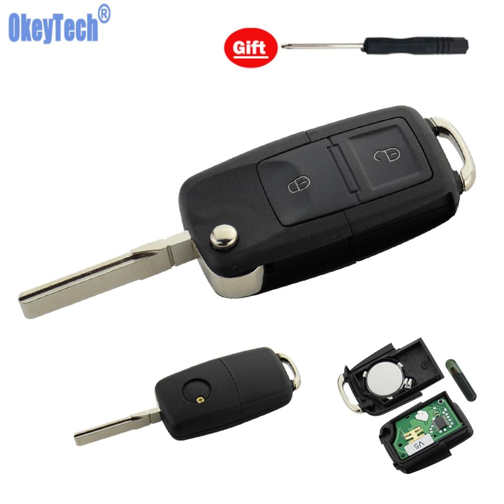 OkeyTech для VW-w Volkswagen Passat Bora Polo Golf 2 кнопки откидной складной переключатель дистанционный Автомобильный ключ 433 МГц ID48 чип HU66 Blade