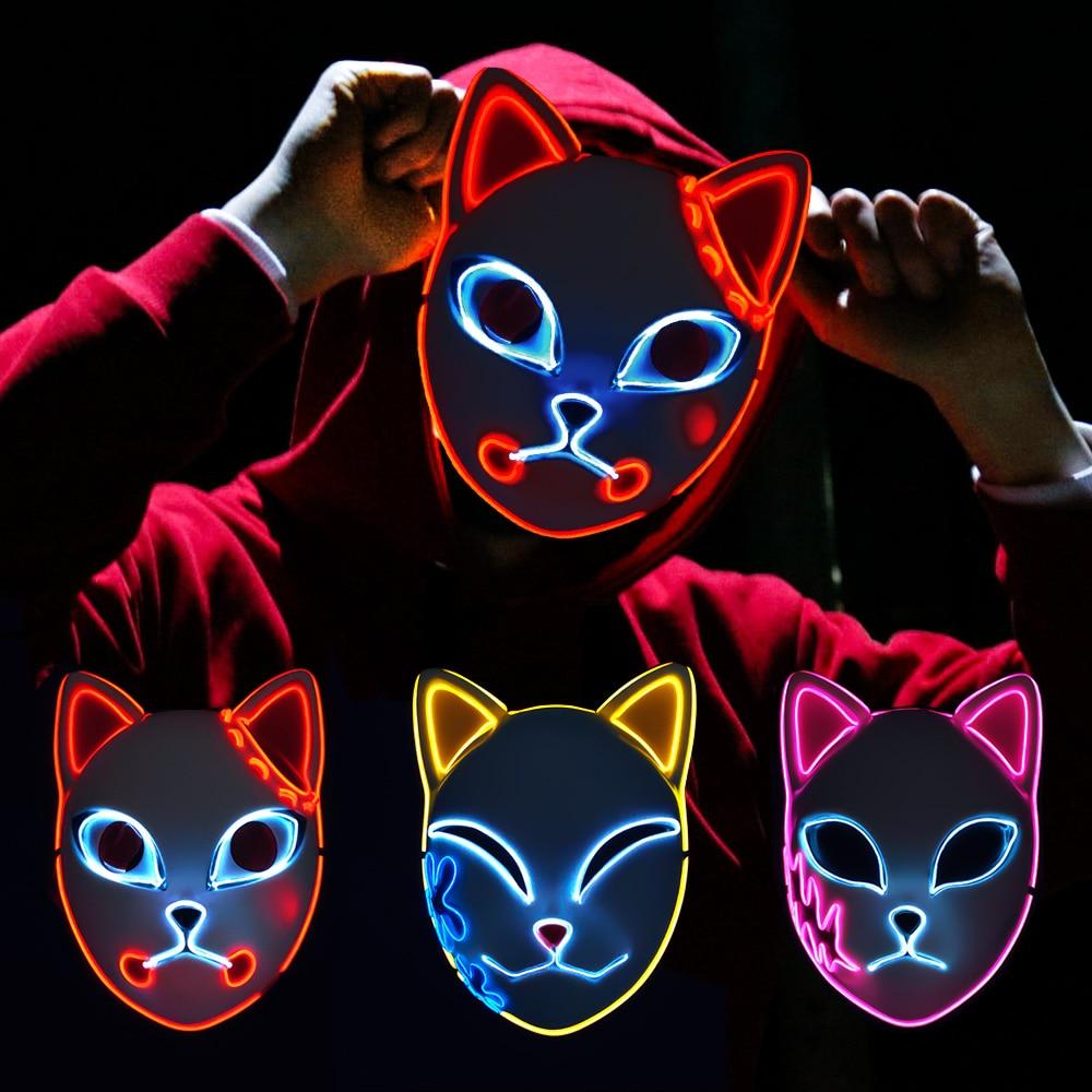 Demon Slayer Tanjirou Mask Sabito Mascarilla Anime Masks Makomo Cosplay Masques Halloween Costume Mascaras LED