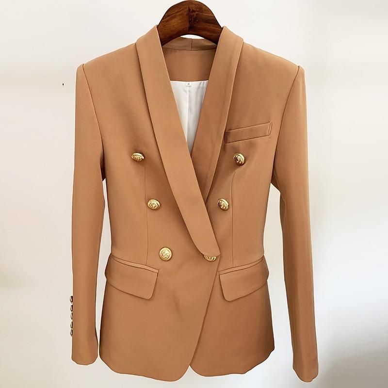 2021 Newest Designer Blazer Jacket Women's Slim Fitting Double Breasted Metal Lion Buttons Shawl Collar Blazer