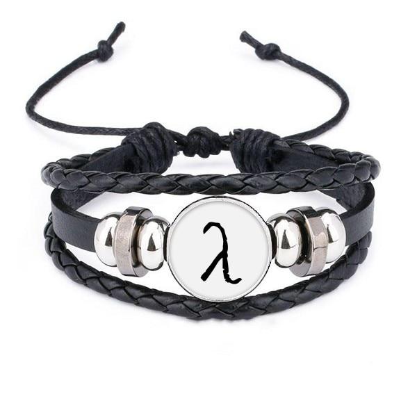 Alfabeto griego Lambda pulsera de silueta negra cuerda trenzada de cuero pulsera de cuentas