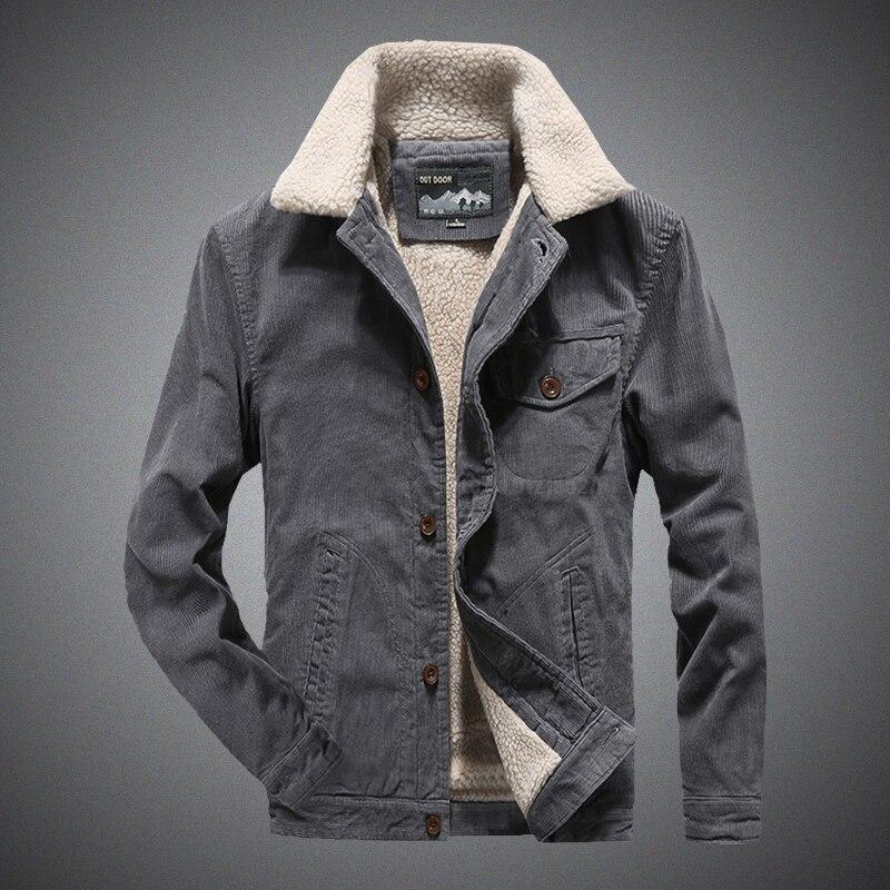 جاكيت رجالي مخملي حديث للشتاء معطف سميك من القطن صوف الضأن جاكيت دافئ من القماش المخملي معطف رجالي متوسط العمر