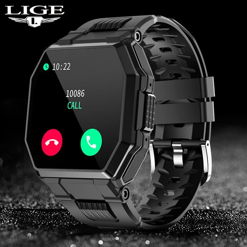 LIGE 2021 New Smart Watch Bluetooth Call Men Full Touch Sport Fitness Tracker Blood Pressure Heart R