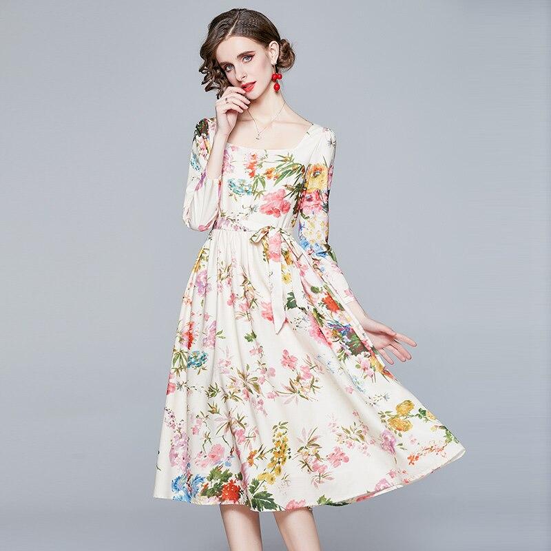 ZUOMAN Women Spring & Summer Elegant Floral Dress Festa High Quality Long Wedding Party Robe Femme Vinatge Designer Vestidos