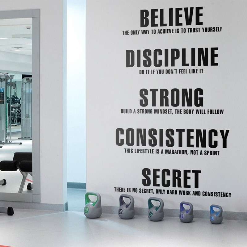 Pegatina de vinilo con valores para el gimnasio, pegatina de arte para ejercicio físico, motivacional, murales inspiradores con citas, A727