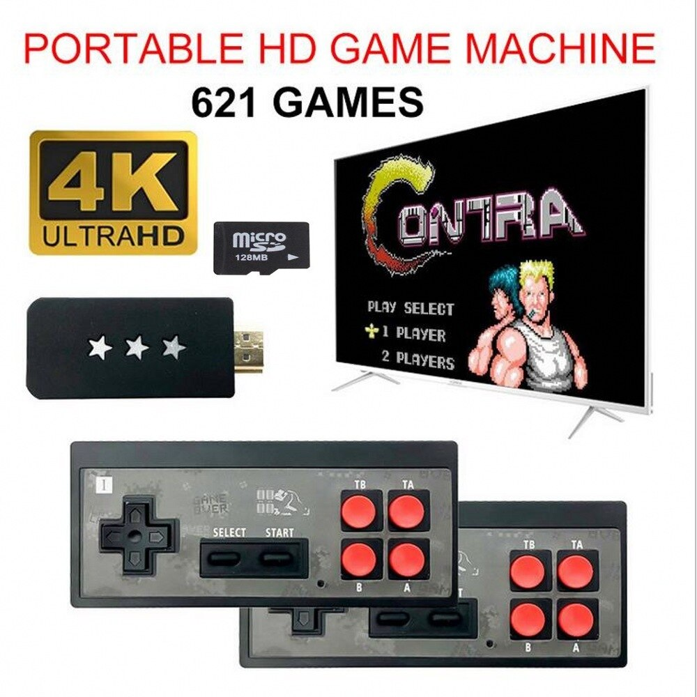 Y2 Y2 P 4K  Video Game Console Built in 621 Classic Games Mini Retro Console Wireless Controller HDMI-Output Dual Players