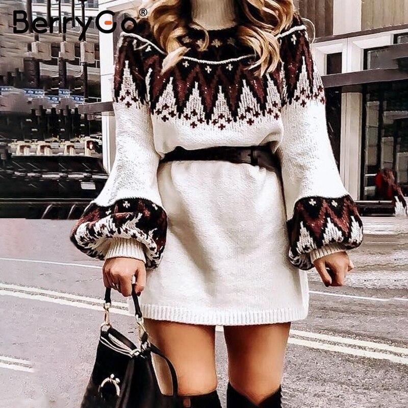 BerryGo трикотажное платье с геометрическим принтом женское повседневное туника с высоким воротником женское платье-свитер осень зима ретро белое платье