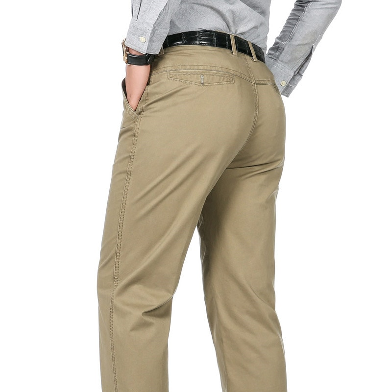 Men's Suit Pants Fashion Boutique Cotton Solid Khaki Official Business Mens Dress Pants Formal Groom Wedding Dresspants Trousers
