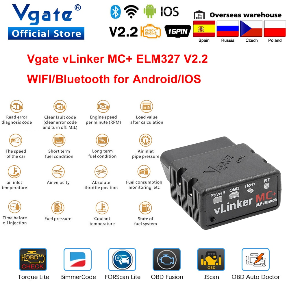 Vgate vLinker MC+ ELM327 Bluetooth 4.0 OBD 2 OBD2 Scanner WIFI for BimmerCode FORScan For Android/IOS PK OBDLINK ELM 327 V 1 5