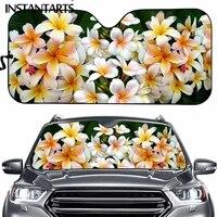 instantarts pretty polynesian plumeria flower painting universal car windshield sun shade hawaiian sun shade interior protector