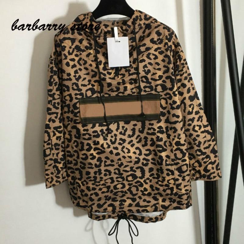 2021 luxury brand leopard lettered printing fashion women's top versatile hooded loose long sleeved assault windbreaker coat