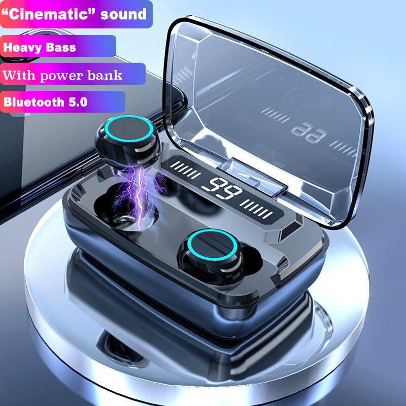 Беспроводные наушники Bluetooth V5.0 TWS, беспроводные Bluetooth наушники, светодиодный дисплей, 3300 мАч, внешний аккумулятор, гарнитуры с микрофоном