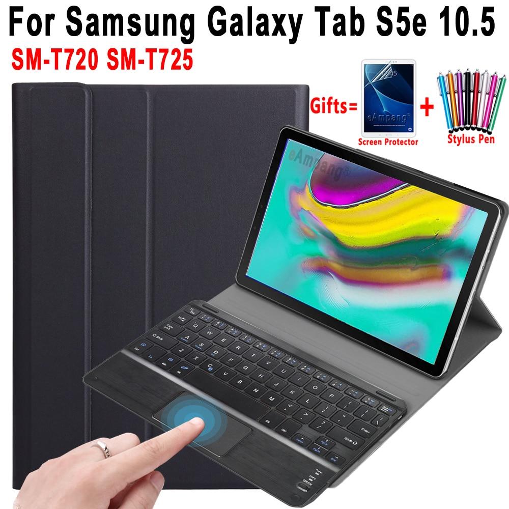 Caso para Samsung Galaxy Tab S5e 10,5 SM-T720 SM-T725 con Touchpad teclado Bluetooth desmontable Trackpad de cuero cubierta