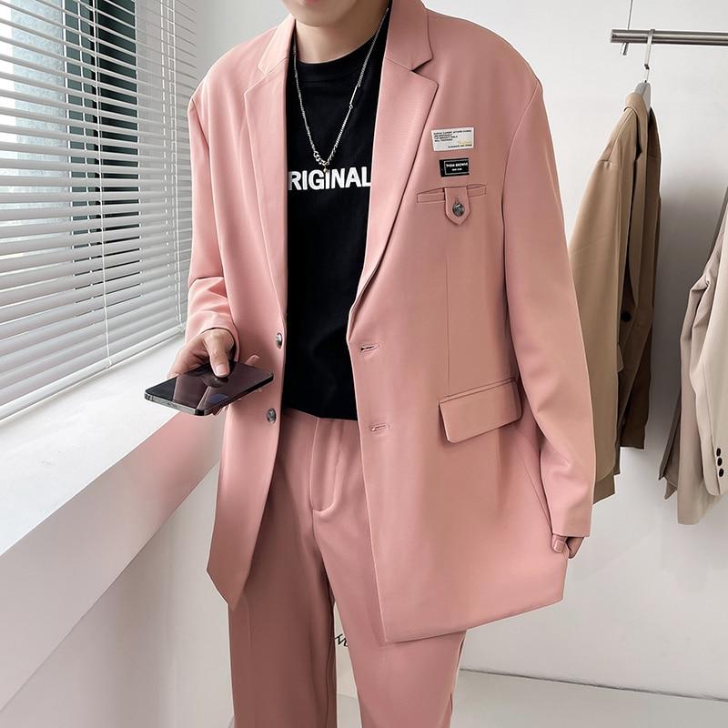 الوردي أسود أبيض دعوى الرجال موضة المجتمع رجل فستان البدلة الكورية فضفاض السترة/دعوى السراويل اثنين من قطعة الرجال مكتب رسمي مجموعات M-3XL