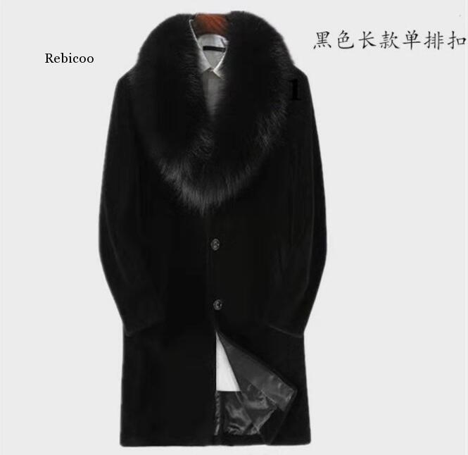 Autumn faux mink leather jacket mens winter thicken warm black fur leather coat men slim jackets jaqueta de couro fashion b48