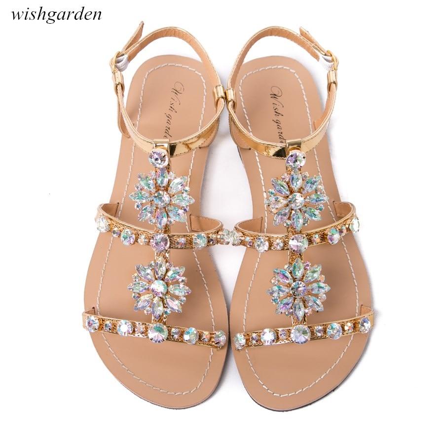 2020 nuevas mujeres verano bohemia diamante Sandalias planas señora casual playa strass brillante boho zapatos de talla grande sandalias peep toe