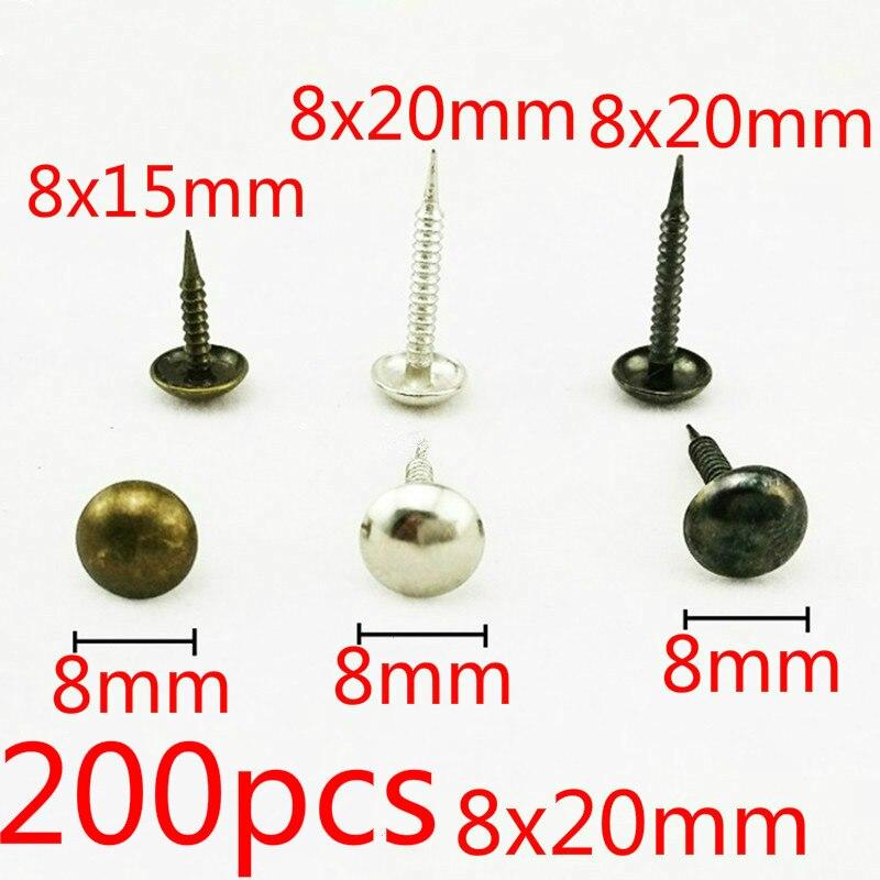 200PCS 8x20 milímetros Dark Bronze/Unhas De Prata Antigo Caso Caixa de Móveis De Madeira Do Parafuso Prisioneiro Tachas Decorativas Unhas alfinete Doornail