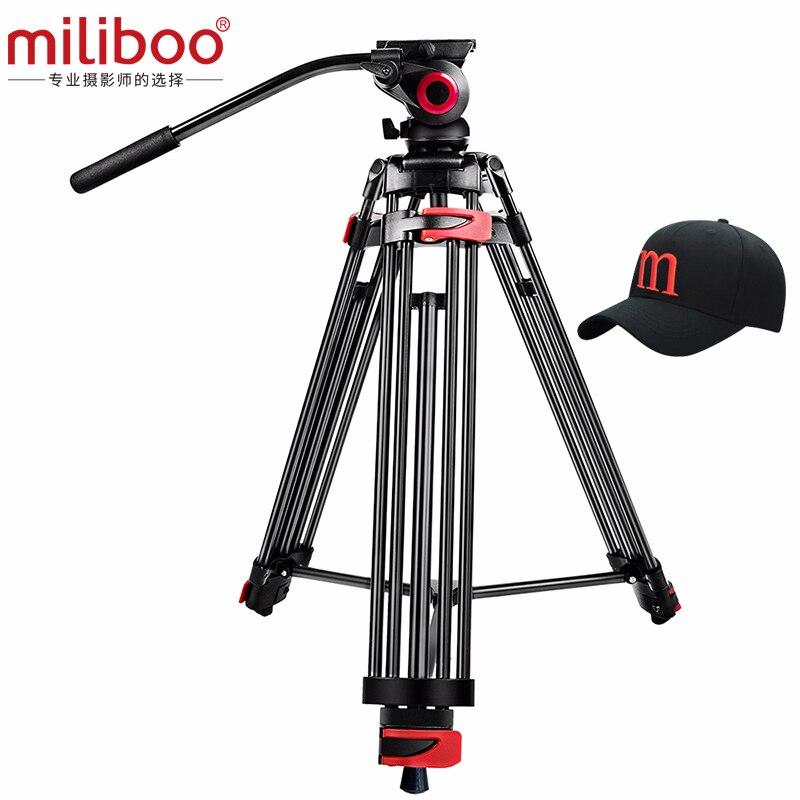 Miliboo MTT602A المهنية المحمولة الألومنيوم السائل رئيس كاميرا ترايبود لكاميرا الفيديو/DSLR حامل حامل فيديو ثلاثي القوائم 76
