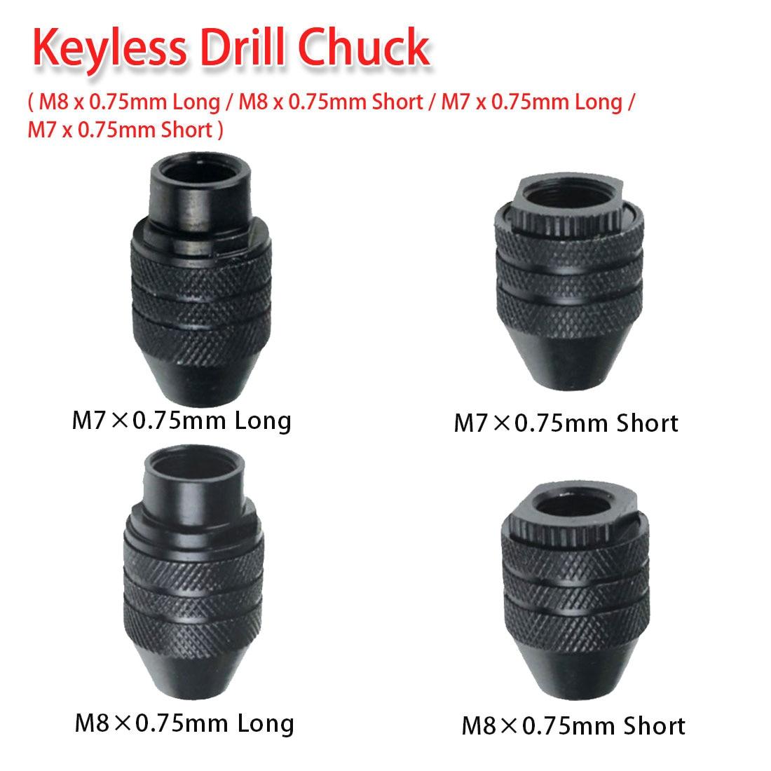 M8x0.75mm/ M7x0.75mm Keyless Drill Chuck Thread 9/32-40 for Dremel 4000 3000 8200 Grinder Rotary Tool 0.5-3.2mm Flexible Shaft