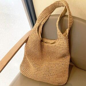 casual straw large capacity totes wicker woven shoulder bags rattan handbags summer beach bag travel big purses female sac 2021
