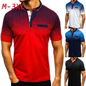 Mens Short Sleeve Tee Shirt Tops Summer Casual Slim Fit Gradient Turn-Down Collar Tops Sports T-shirt Size M-3XL