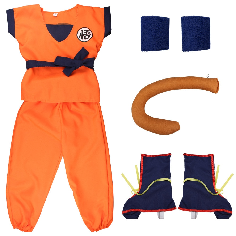 2021 Child Adult Halloween Costumes Z Clothes Suit Goku Cosplay Costumes Top/Pant/Belt/Tail/wrister/Wig