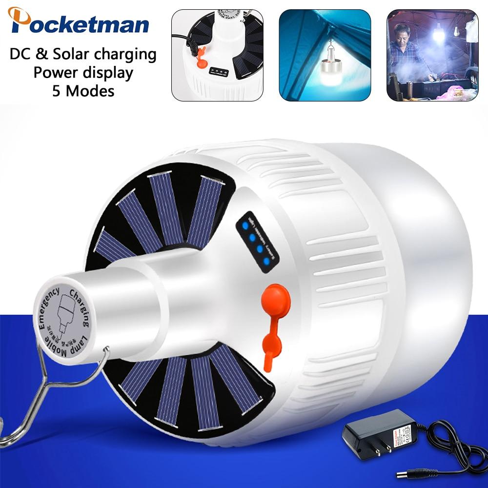 Bombilla LED de carga Solar 3D, Bombilla de ahorro de energía, moldura para luz nocturna, luz de mercado móvil para exteriores, luz de emergencia de acampada