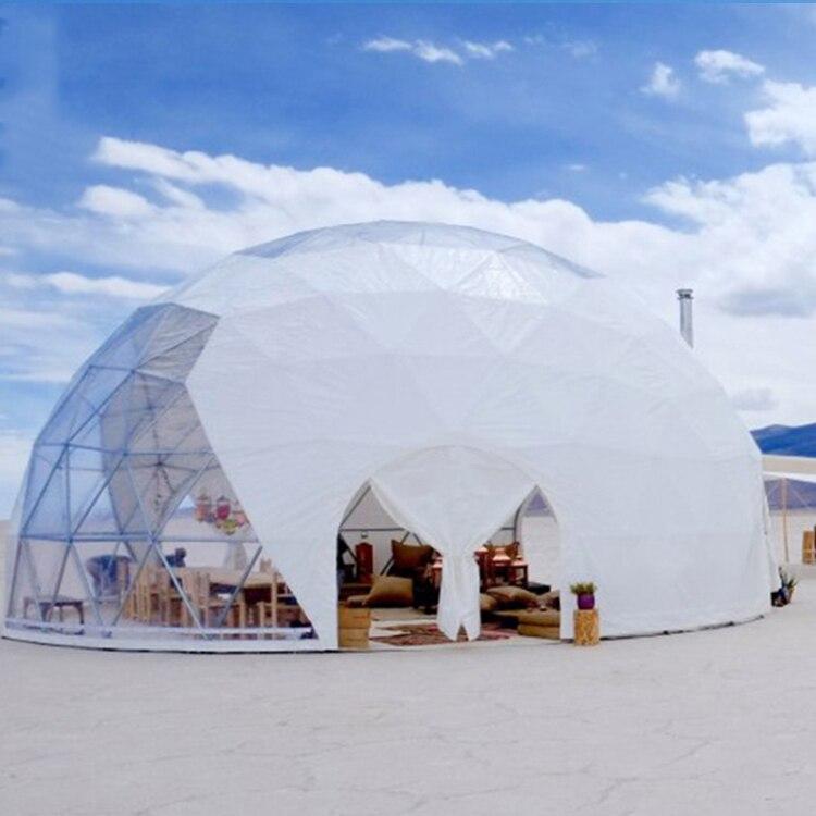 6M Glamping قبة خيمة مقاوم للماء بولي كلوريد الفينيل النسيج قبة خيمة فاخرة خيمة بقبة جيوديسية الفندق