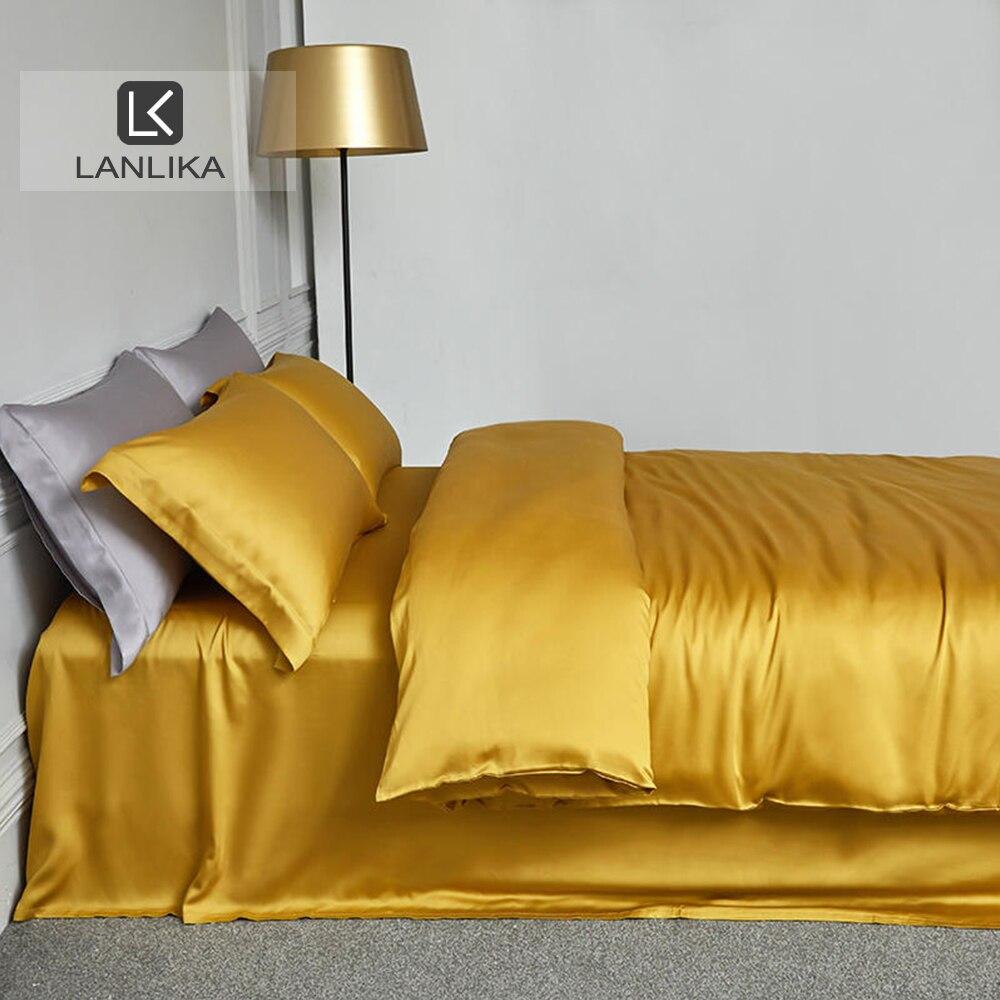 Lanlika 100% الحرير الأصفر طقم سرير الجمال الجلد بالنسبة لك المنزل أطقم سرير الملكة الملك غطاء لحاف غطاء سرير المجهزة ورقة المخدة