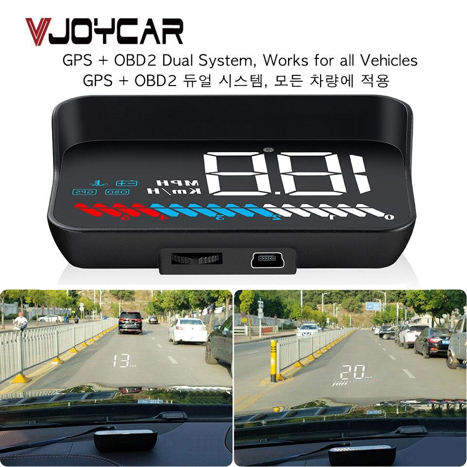 자동차 유니버설 듀얼 시스템 HUD 헤드 디스플레이 OBD II/GPS 인터페이스 차량 속도 MPH KM/h 엔진 RPM 과속 경고 마일리지